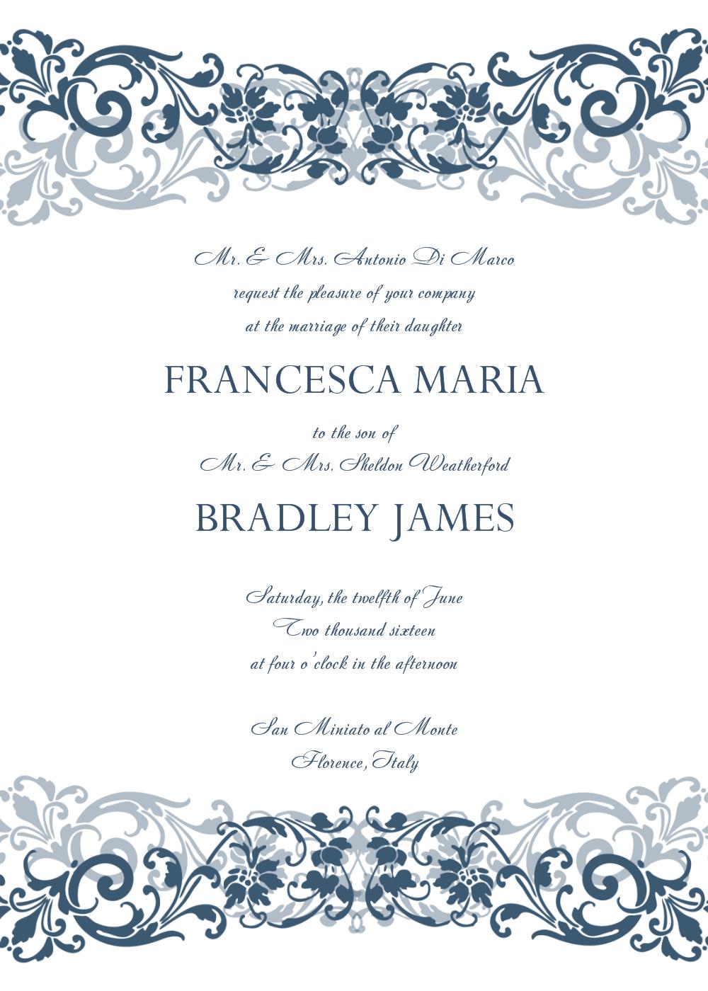 Free Wedding Invitation Templates For Word 30 Free Wedding