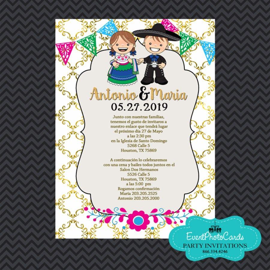 Mexican Wedding Invitations Mexican Invitations Wedding Gold Charro