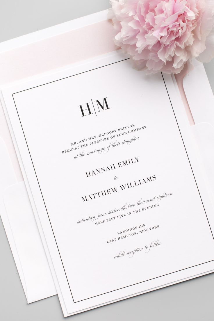 plain wedding invitations glam monogram wedding