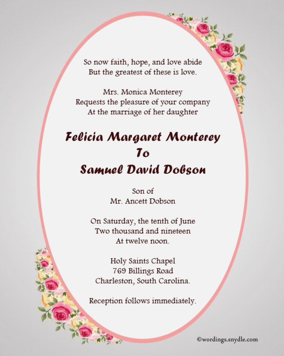 Wedding Invitations Wording Samples 30 Concept Christian Wedding