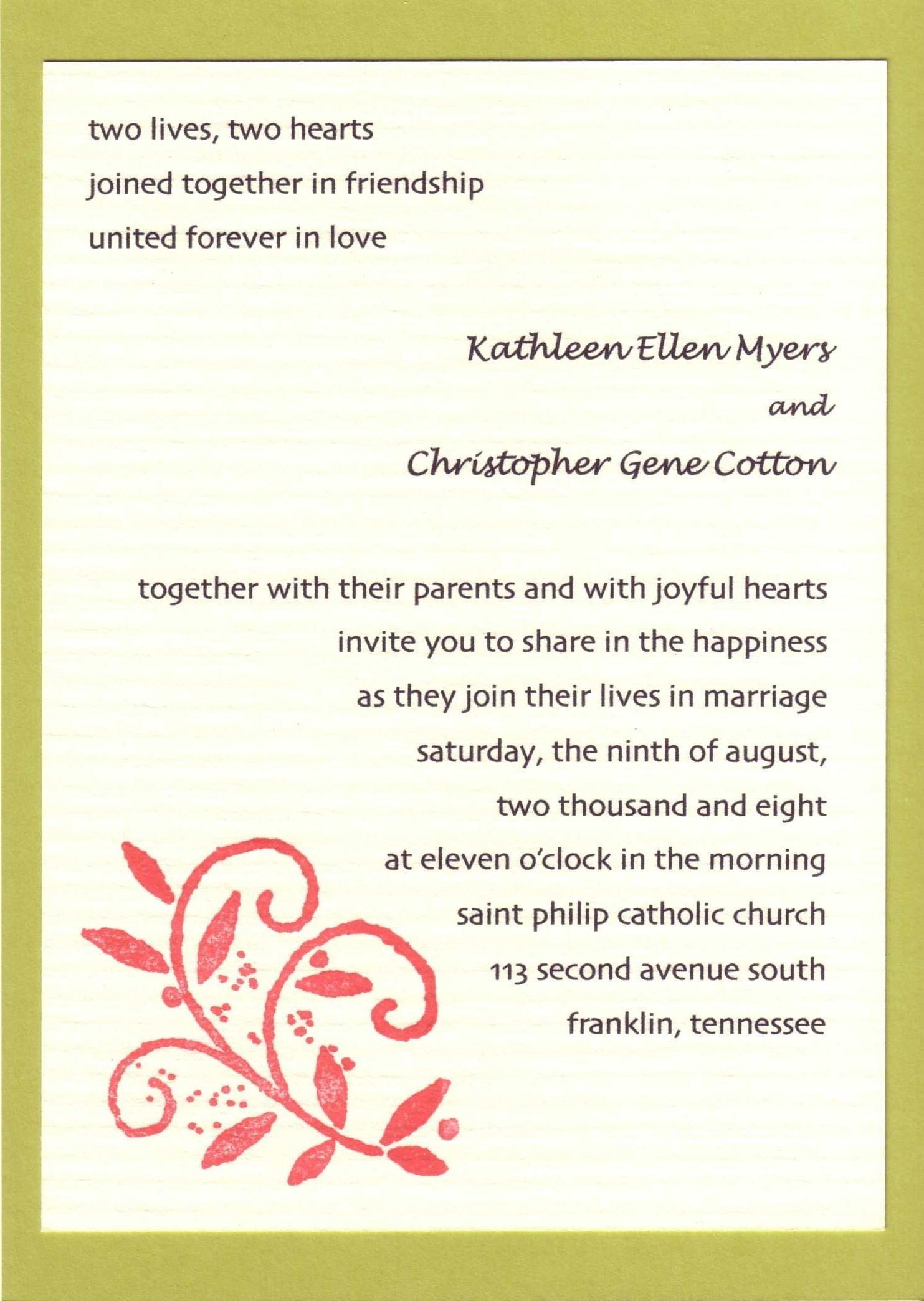 Wedding Invitations Wording Samples Wedding Invitation Sayings