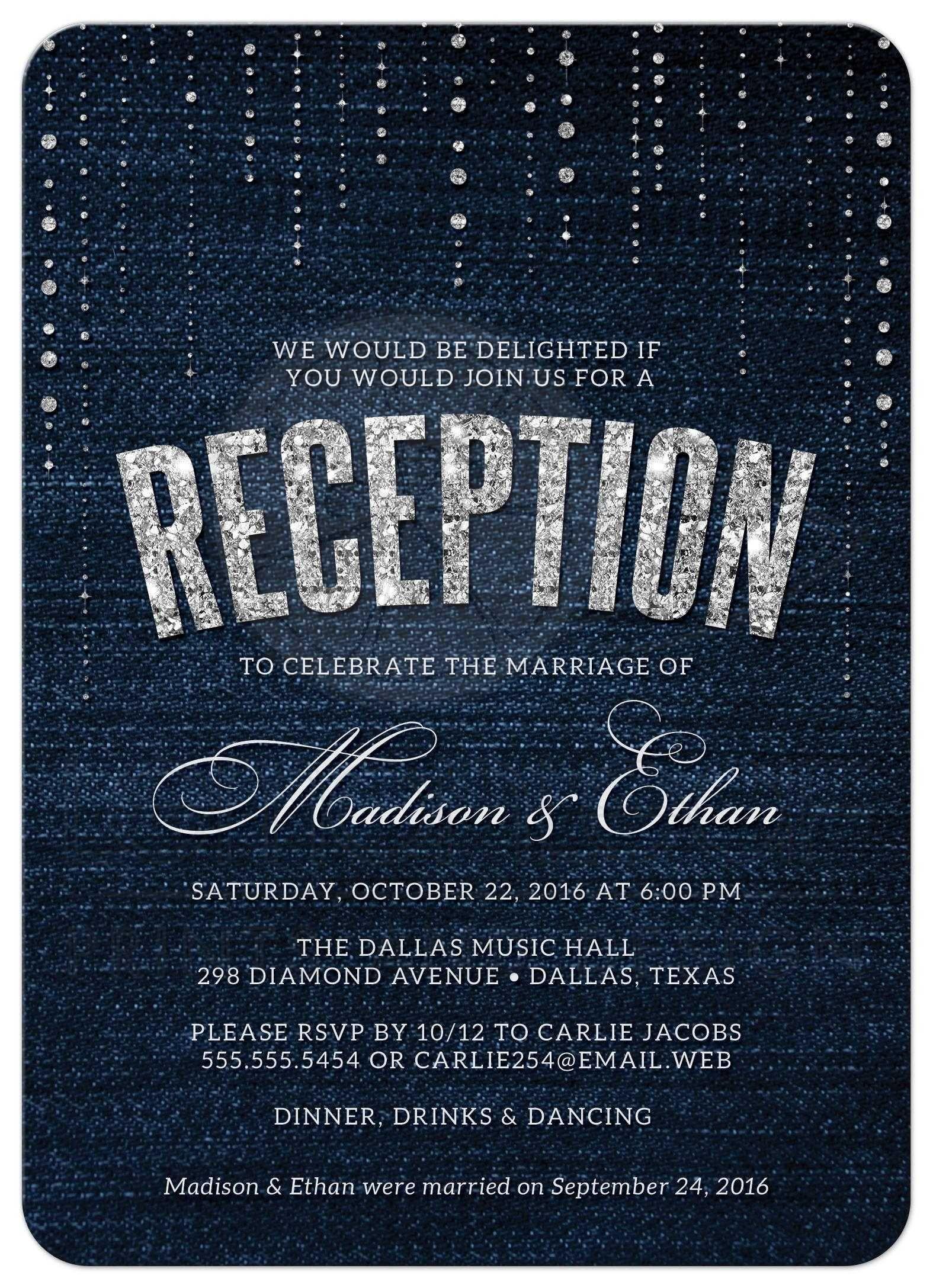 Wedding Reception Only Invitation Wording Denim Diamonds Post