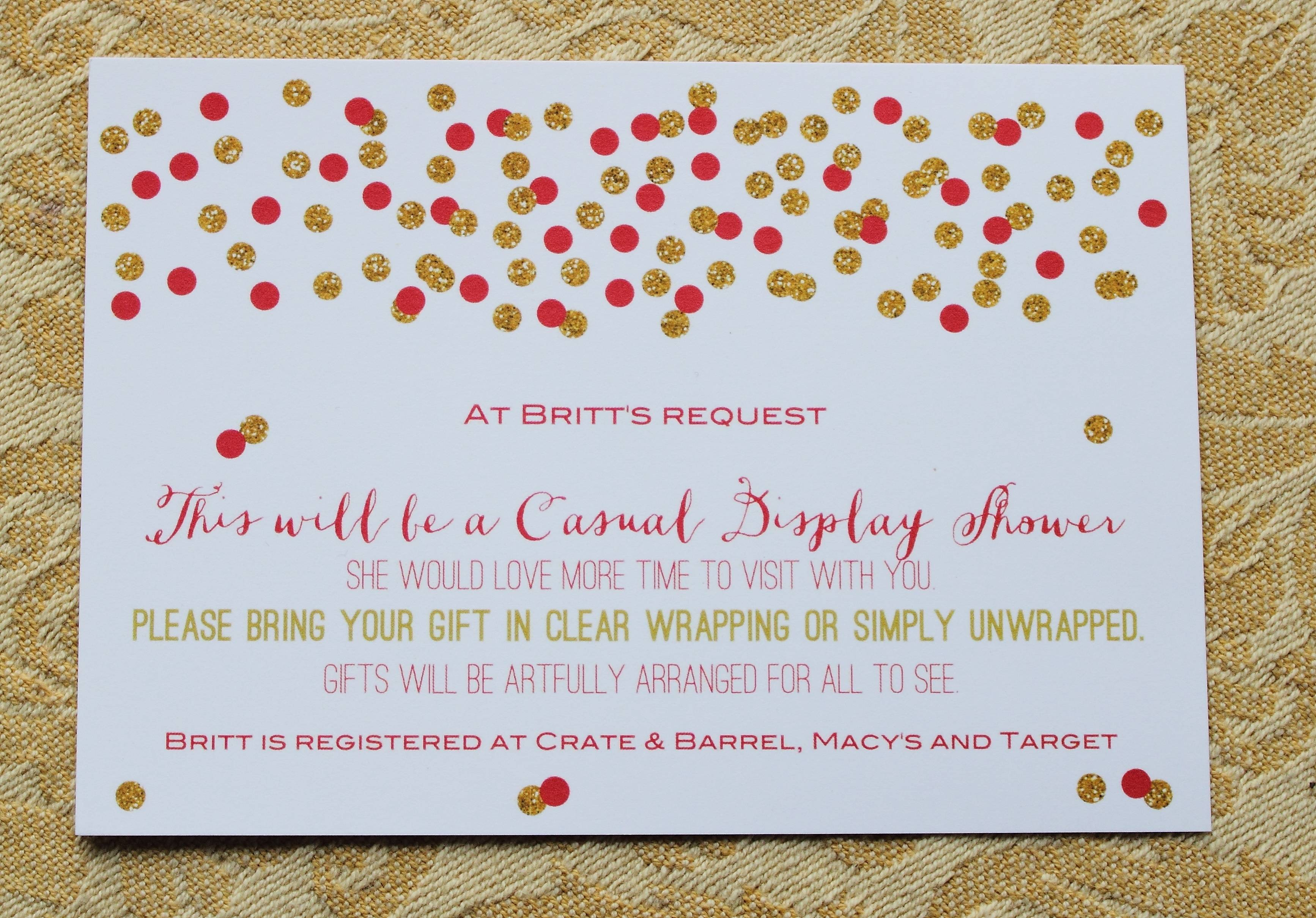 Wedding Shower Invitations Wording Gift Card Ba Shower Poem Display